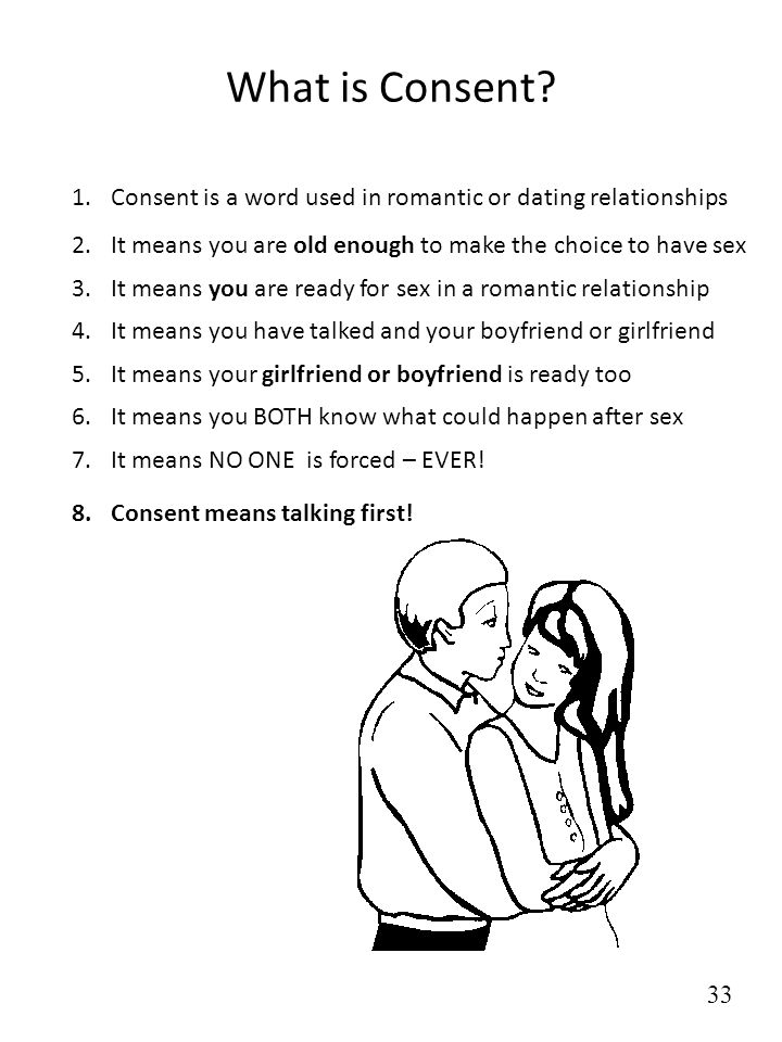 What is Consent? 1.Consent is a word used in romantic or dating relationships 2.It means you are old enough to make the choice to have sex 3.It means