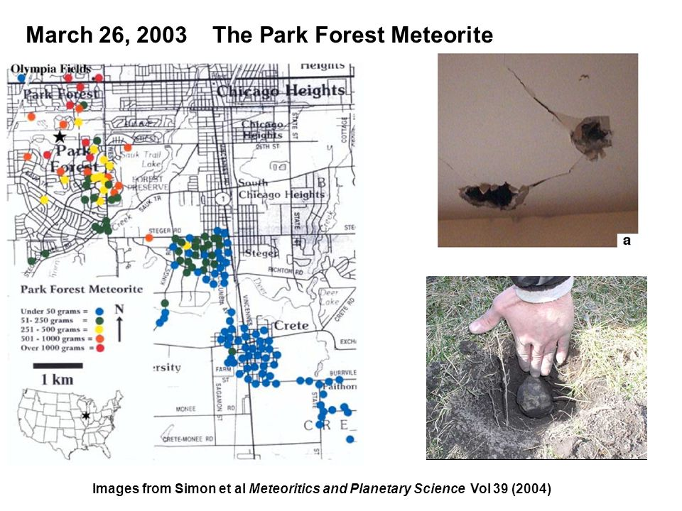 March 26, 2003 The Park Forest Meteorite Images from Simon et al Meteoritics and Planetary Science Vol 39 (2004)
