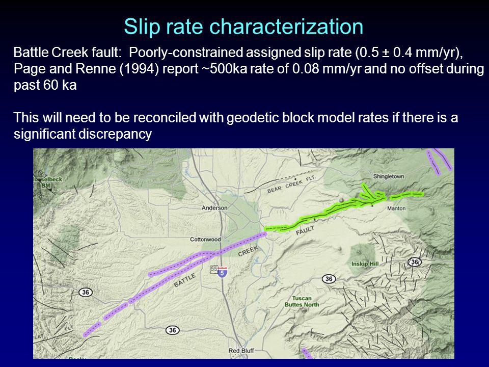 Slip rate characterization Battle Creek fault: Poorly-constrained assigned slip rate (0.5 ± 0.4 mm/yr), Page and Renne (1994) report ~500ka rate of 0.08 mm/yr and no offset during past 60 ka This will need to be reconciled with geodetic block model rates if there is a significant discrepancy