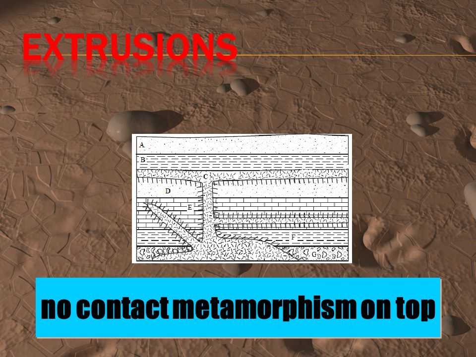 Contact metamorphism: occurs at the border where magma touches solid rock- at this boundary, the rock is turned into metamorphic rock through contact