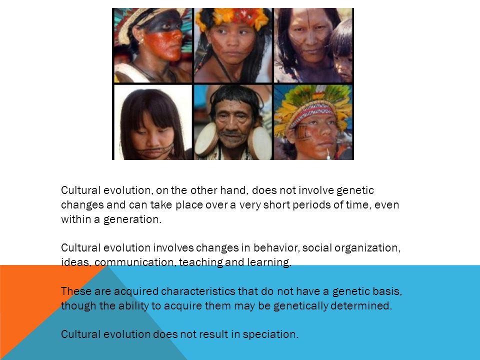 Cultural evolution, on the other hand, does not involve genetic changes and can take place over a very short periods of time, even within a generation.