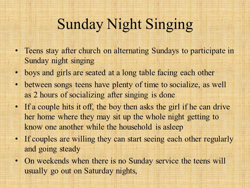 Sunday Night Singing Teens stay after church on alternating Sundays to participate in Sunday night singing boys and girls are seated at a long table f
