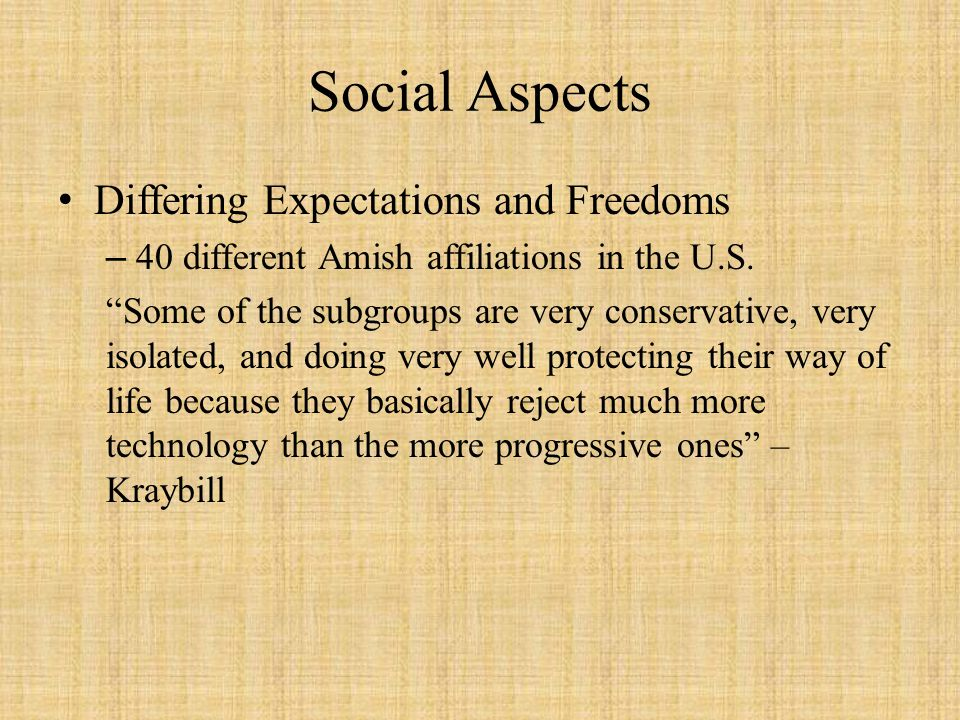 Social Aspects Differing Expectations and Freedoms –40 different Amish affiliations in the U.S. Some of the subgroups are very conservative, very isol