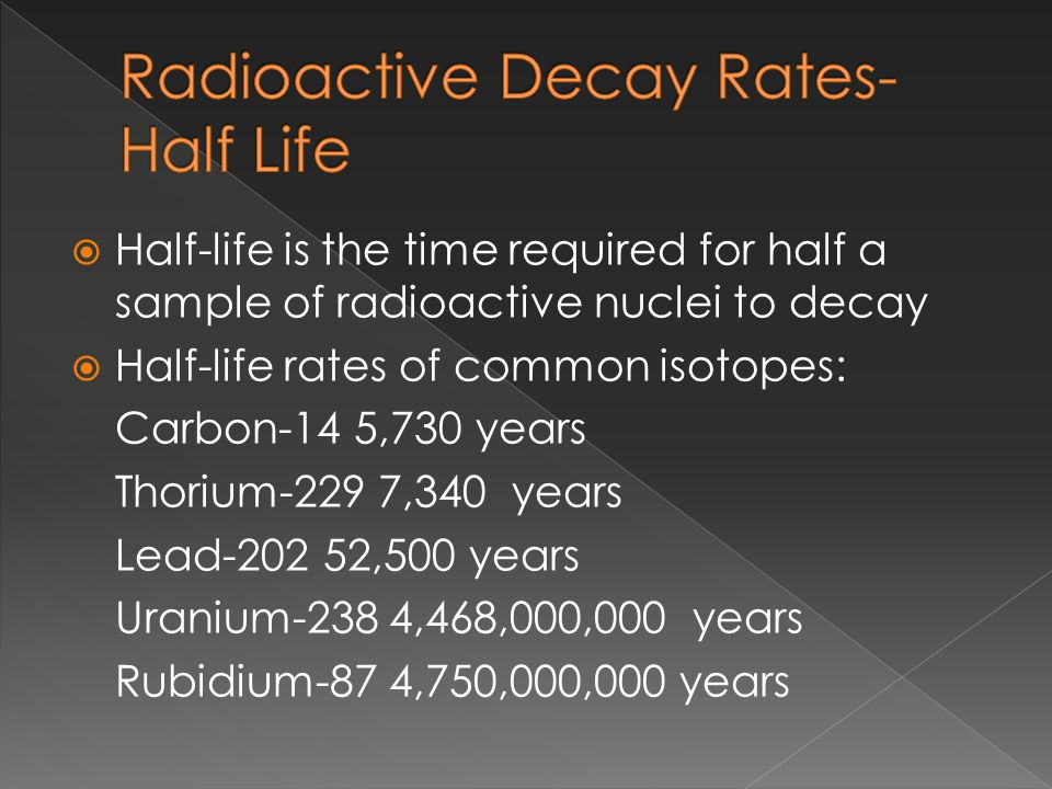 Half-life is the time required for half a sample of radioactive nuclei to decay Half-life rates of common isotopes: Carbon-14 5,730 years Thorium-229 7,340 years Lead ,500 years Uranium-238 4,468,000,000 years Rubidium-87 4,750,000,000 years