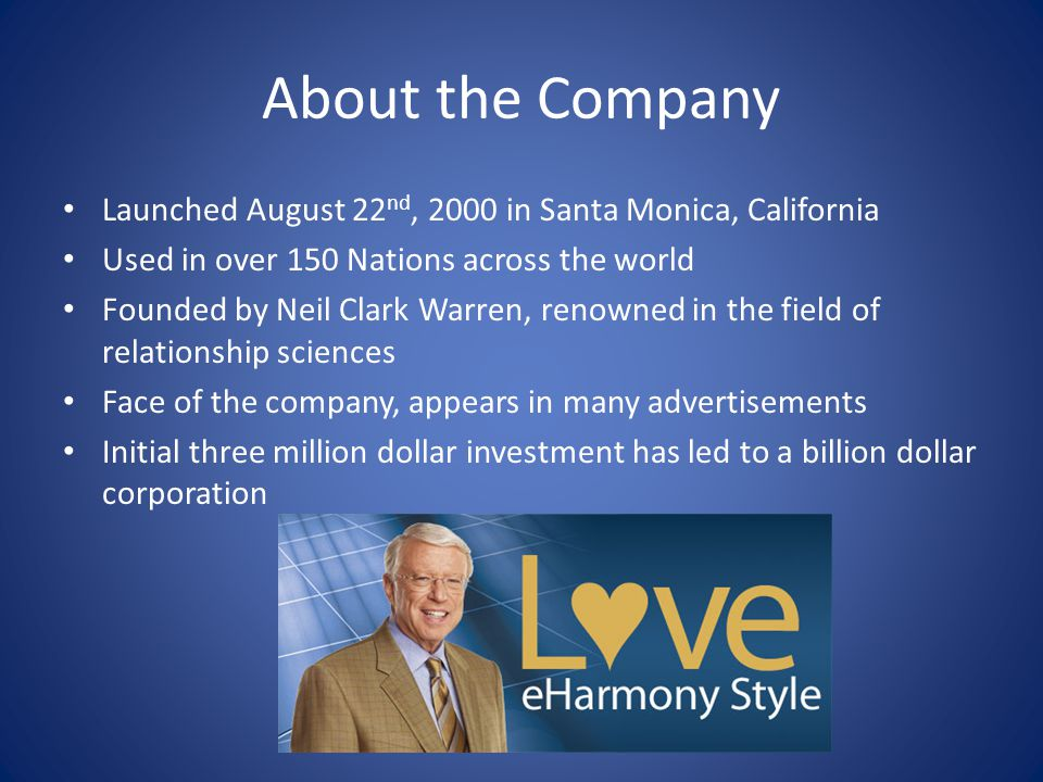About the Company Launched August 22 nd, 2000 in Santa Monica, California Used in over 150 Nations across the world Founded by Neil Clark Warren, renowned in the field of relationship sciences Face of the company, appears in many advertisements Initial three million dollar investment has led to a billion dollar corporation