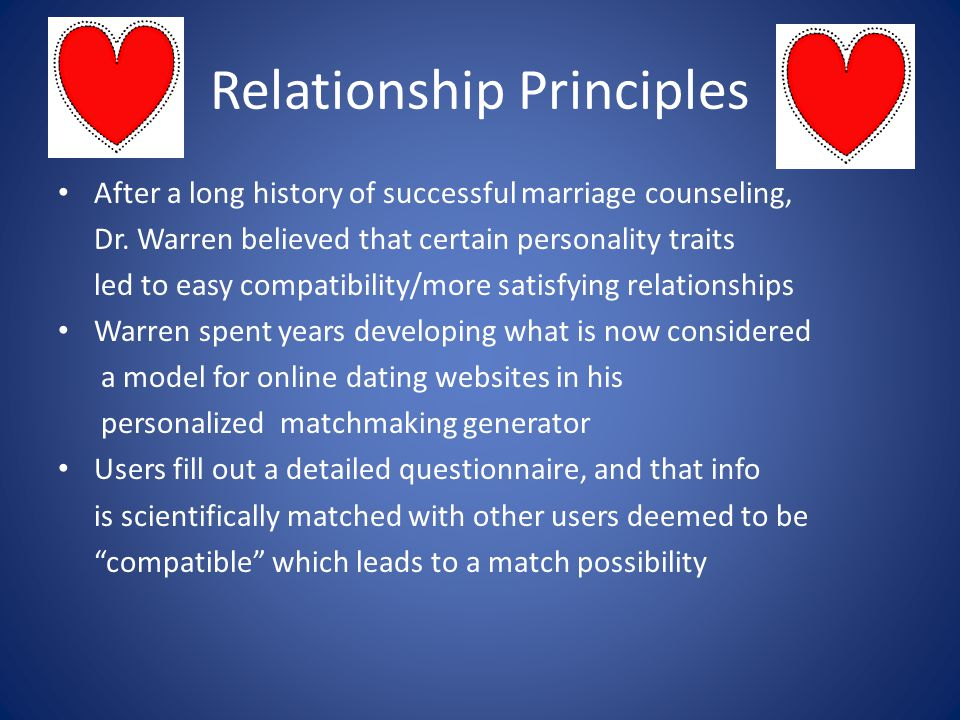 Relationship Principles After a long history of successful marriage counseling, Dr.