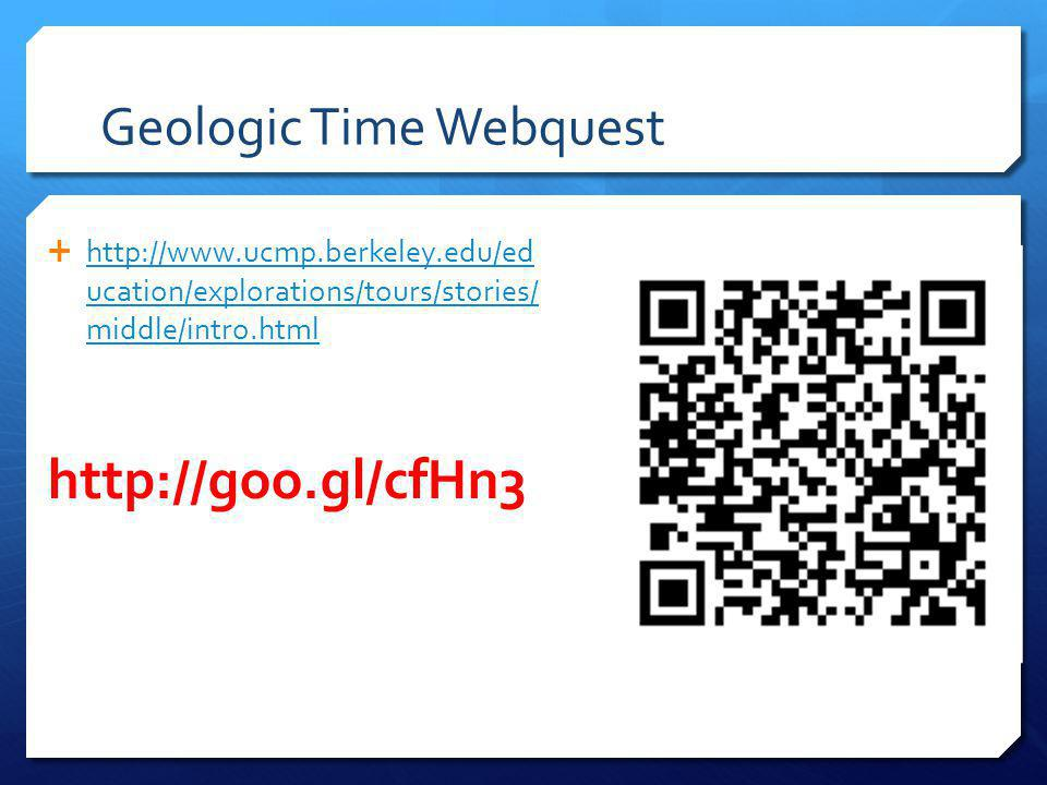 Geologic Time Webquest http://www.ucmp.berkeley.edu/ed ucation/explorations/tours/stories/ middle/intro.html http://www.ucmp.berkeley.edu/ed ucation/explorations/tours/stories/ middle/intro.html http://goo.gl/cfHn3