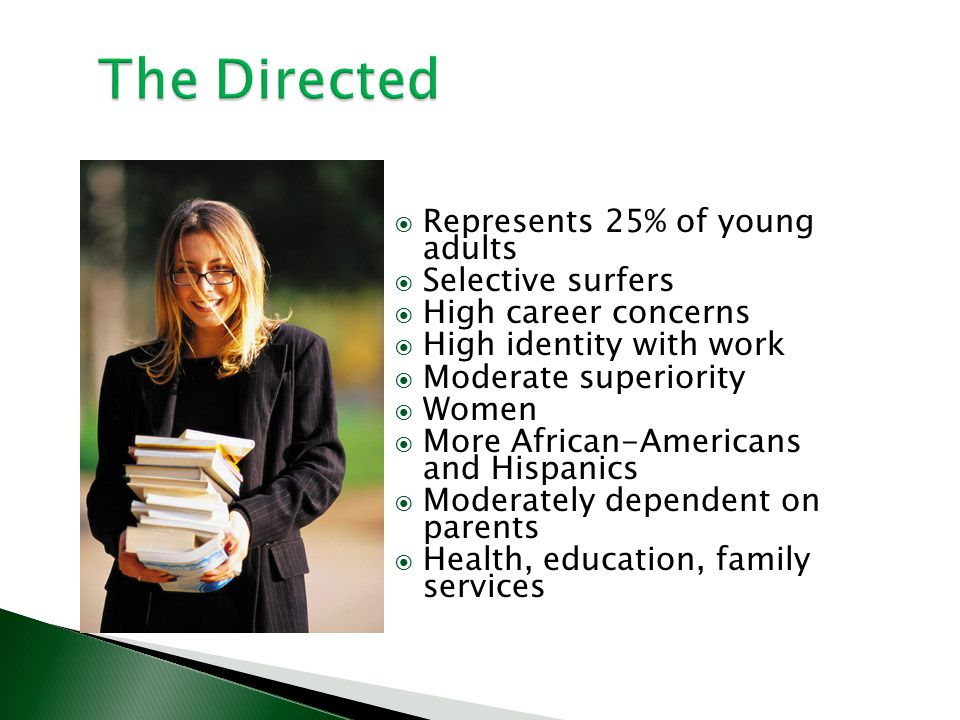 The Directed Represents 25% of young adults Selective surfers High career concerns High identity with work Moderate superiority Women More African-Ame