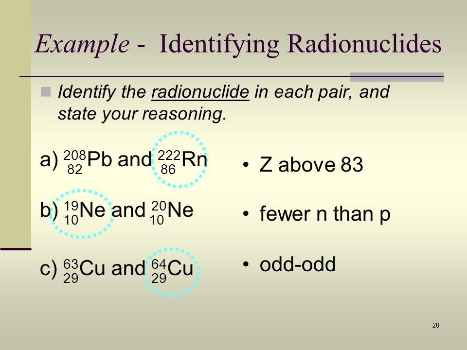 28 Example - Identifying Radionuclides Identify the radionuclide in each pair, and state your reasoning. odd-odd a) 208 Pb and 222 Rn 8286 Z above 83