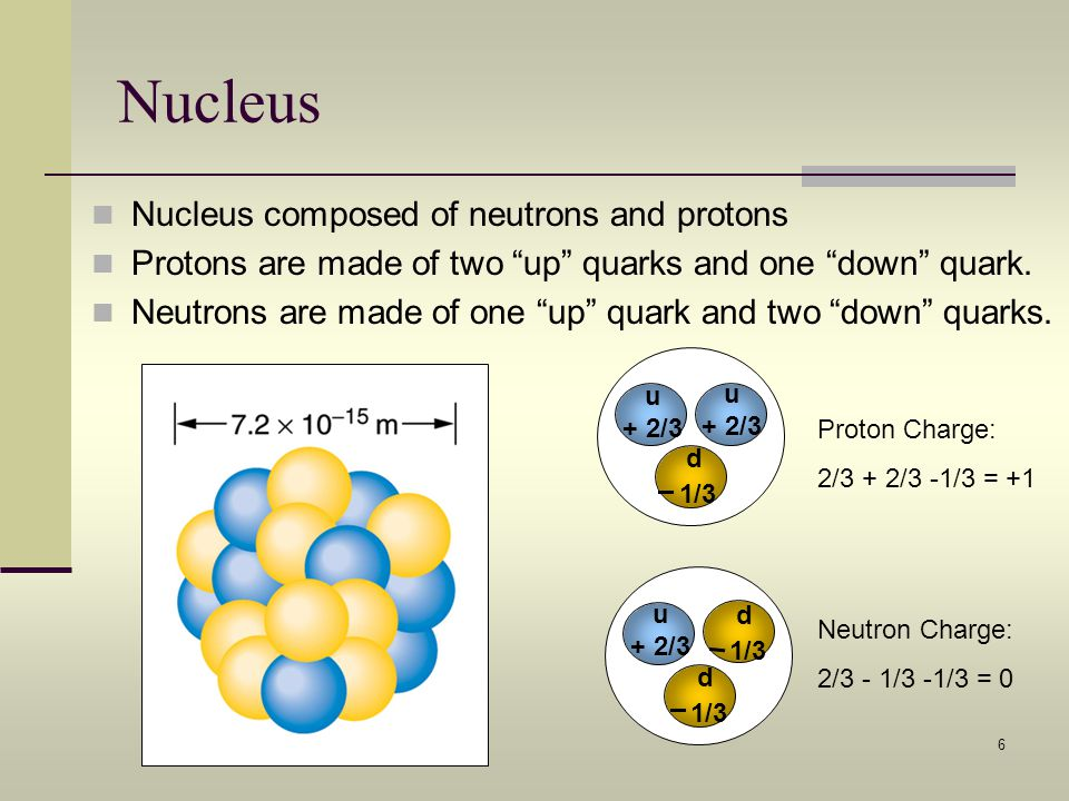 6 Nucleus Nucleus composed of neutrons and protons Protons are made of two up quarks and one down quark. Neutrons are made of one up quark and two dow