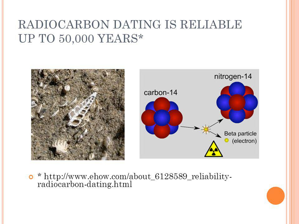 RADIOCARBON DATING IS RELIABLE UP TO 50,000 YEARS* * http://www.ehow.com/about_6128589_reliability- radiocarbon-dating.html