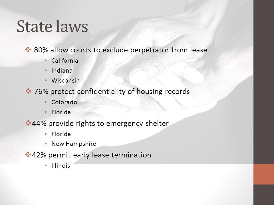 State laws 80% allow courts to exclude perpetrator from lease California Indiana Wisconsin 76% protect confidentiality of housing records Colorado Florida 44% provide rights to emergency shelter Florida New Hampshire 42% permit early lease termination Illinois