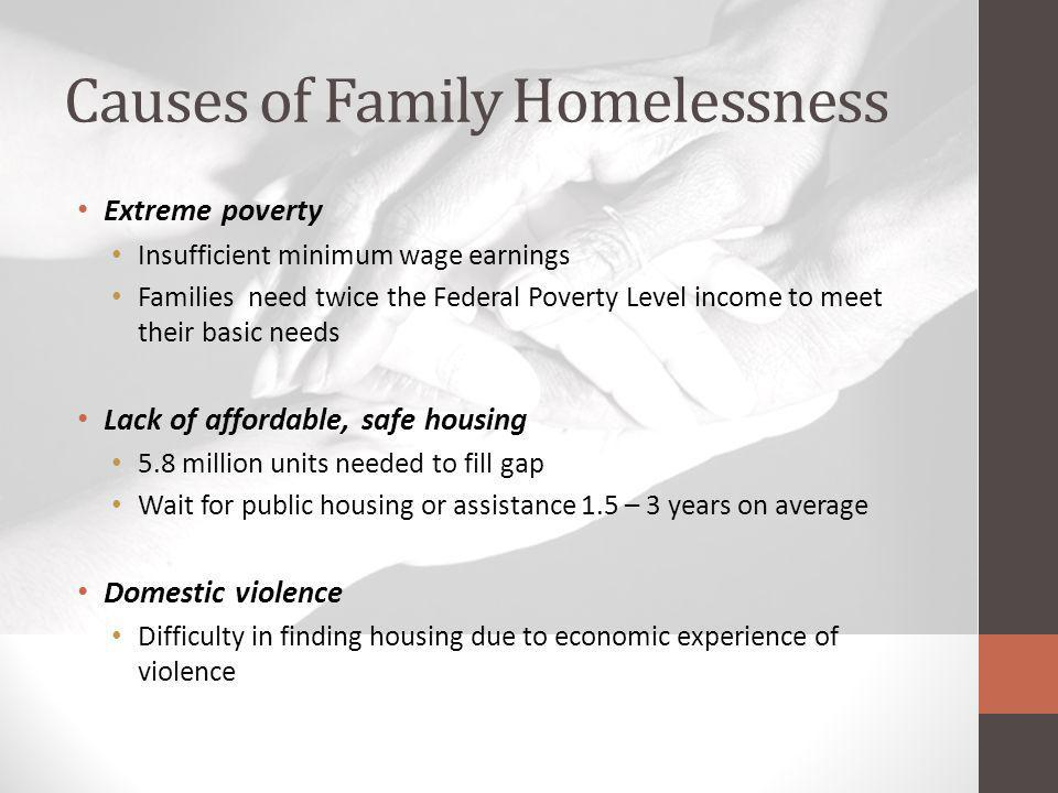 Causes of Family Homelessness Extreme poverty Insufficient minimum wage earnings Families need twice the Federal Poverty Level income to meet their ba