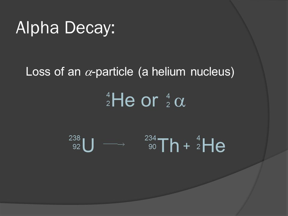 Alpha Decay: Loss of an -particle (a helium nucleus) He or 4242 U 238 92 Th 234 90 He 4242 + 4242