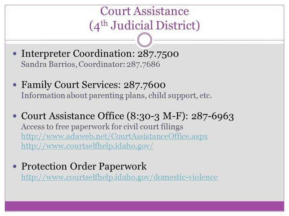 Court Assistance (4 th Judicial District) Interpreter Coordination: 287.7500 Sandra Barrios, Coordinator: 287.7686 Family Court Services: 287.7600 Inf