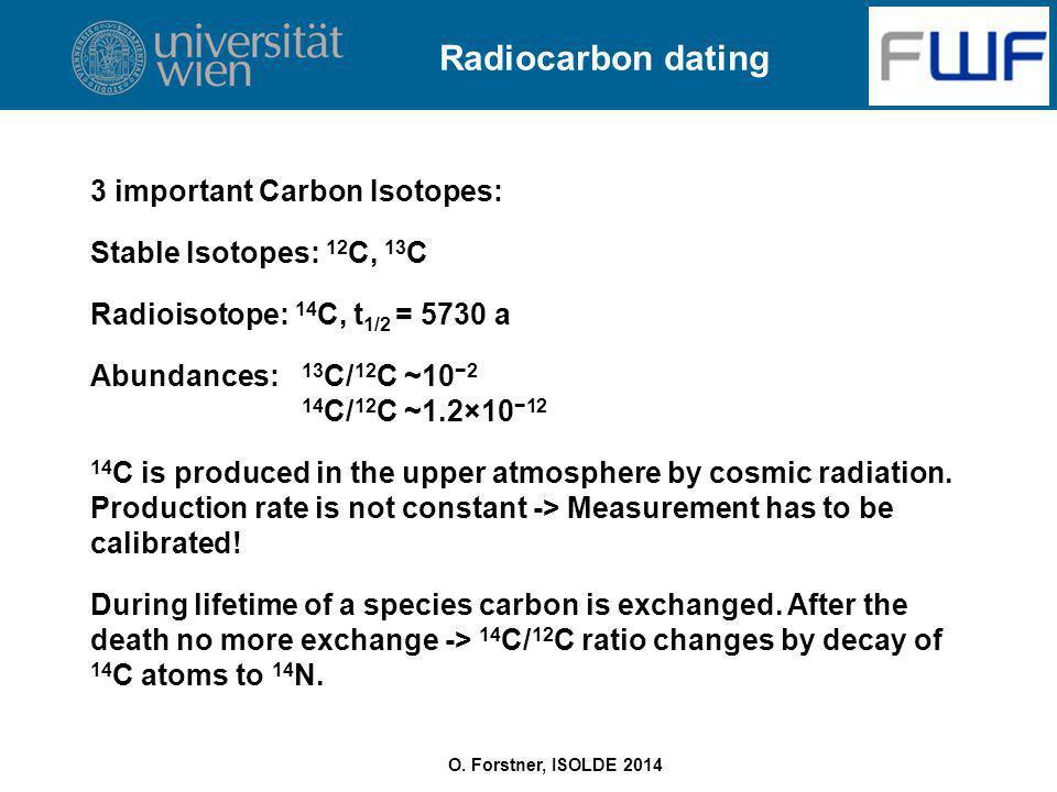 O. Forstner, ISOLDE 2014 Radiocarbon dating 3 important Carbon Isotopes: Stable Isotopes: 12 C, 13 C Radioisotope: 14 C, t 1/2 = 5730 a Abundances: 13