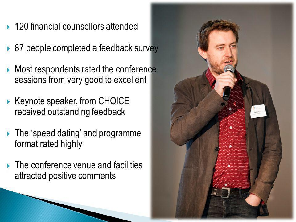 120 financial counsellors attended 87 people completed a feedback survey Most respondents rated the conference sessions from very good to excellent Keynote speaker, from CHOICE received outstanding feedback The speed dating and programme format rated highly The conference venue and facilities attracted positive comments