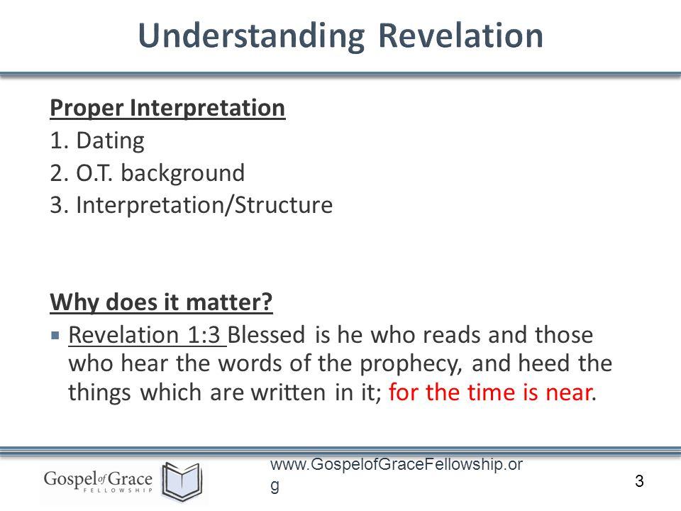 www.GospelofGraceFellowship.or g Proper Interpretation 1. Dating 2. O.T. background 3. Interpretation/Structure Why does it matter? Revelation 1:3 Ble