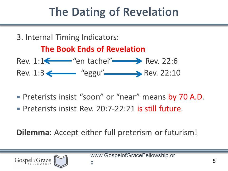 www.GospelofGraceFellowship.or g 3. Internal Timing Indicators: The Book Ends of Revelation Rev. 1:1 en tachei Rev. 22:6 Rev. 1:3 eggu Rev. 22:10 Pret