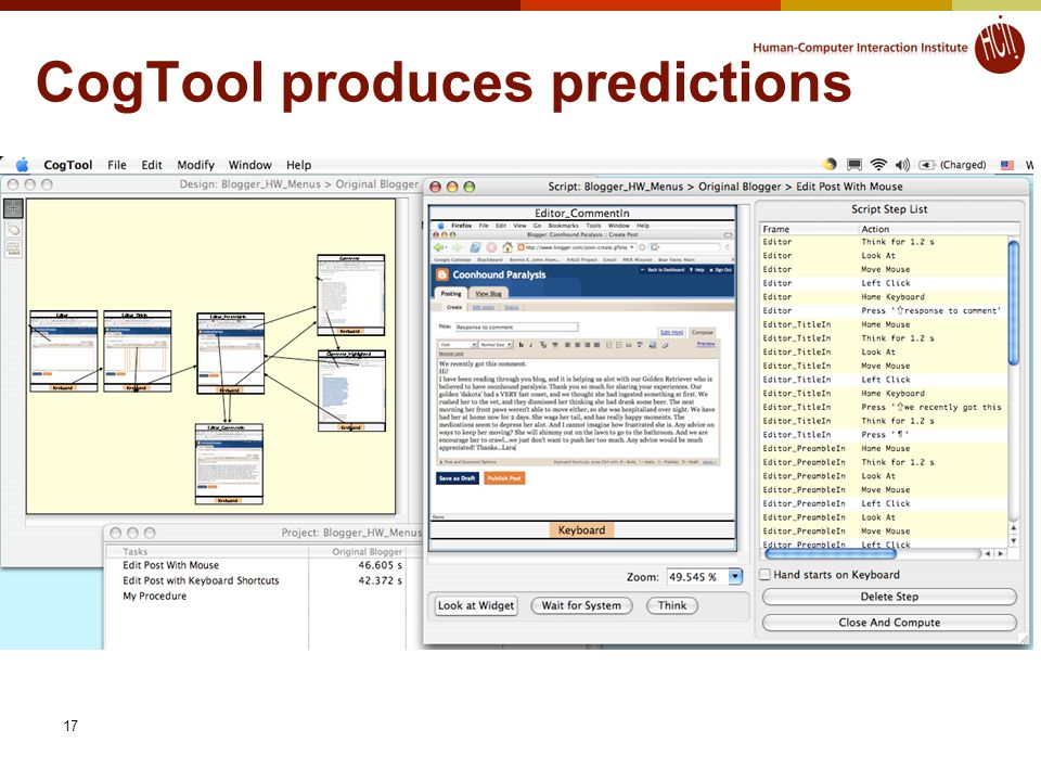17 CogTool produces predictions