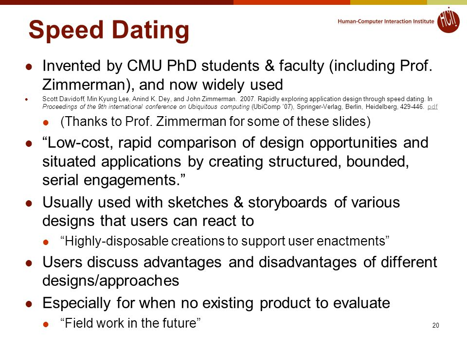Speed Dating Invented by CMU PhD students & faculty (including Prof.