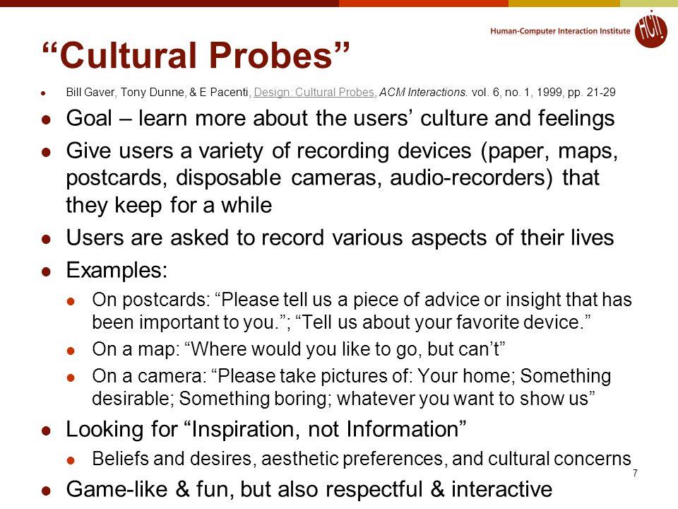 Cultural Probes Bill Gaver, Tony Dunne, & E Pacenti, Design: Cultural Probes, ACM Interactions.