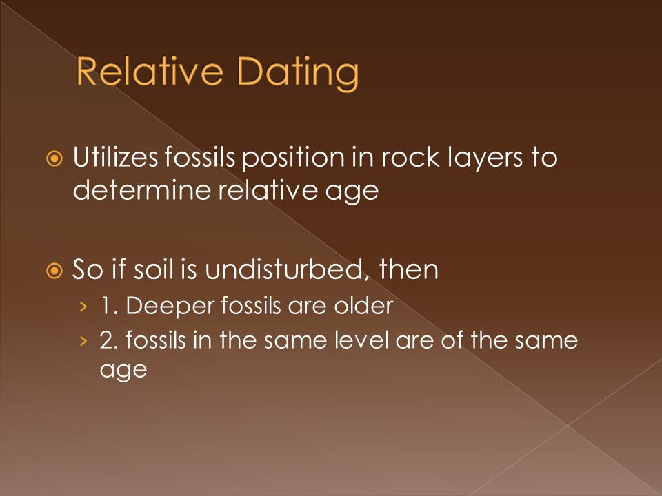 Utilizes fossils position in rock layers to determine relative age So if soil is undisturbed, then 1.