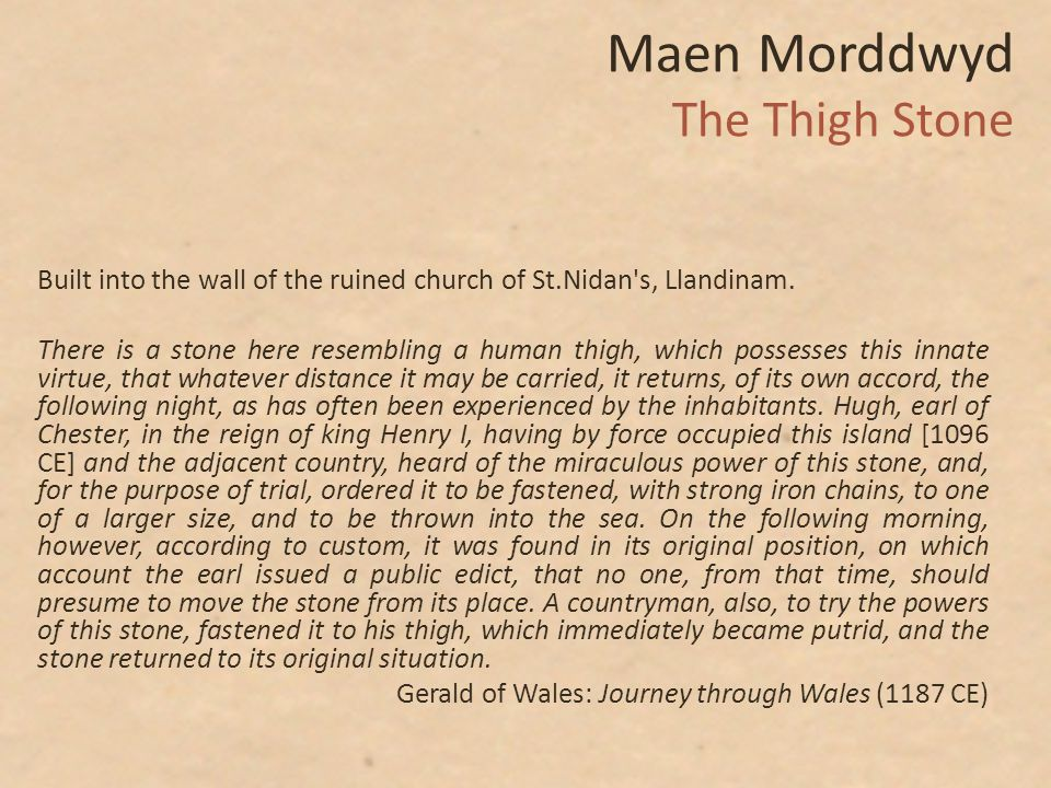 Maen Morddwyd The Thigh Stone Built into the wall of the ruined church of St.Nidan s, Llandinam.