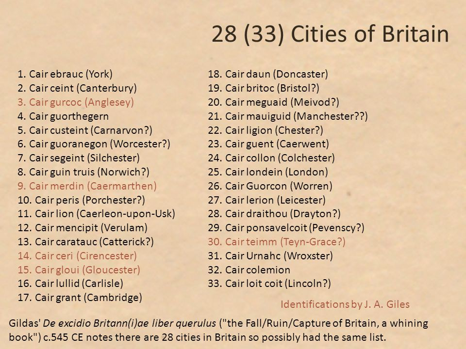 28 (33) Cities of Britain 1. Cair ebrauc (York) 2.