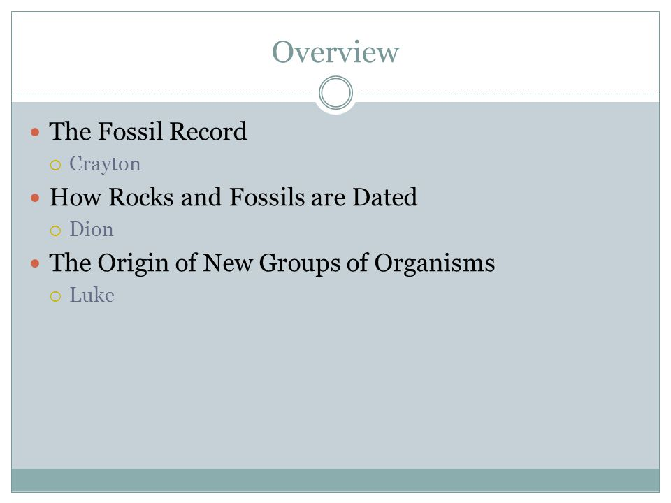 Overview The Fossil Record Crayton How Rocks and Fossils are Dated Dion The Origin of New Groups of Organisms Luke