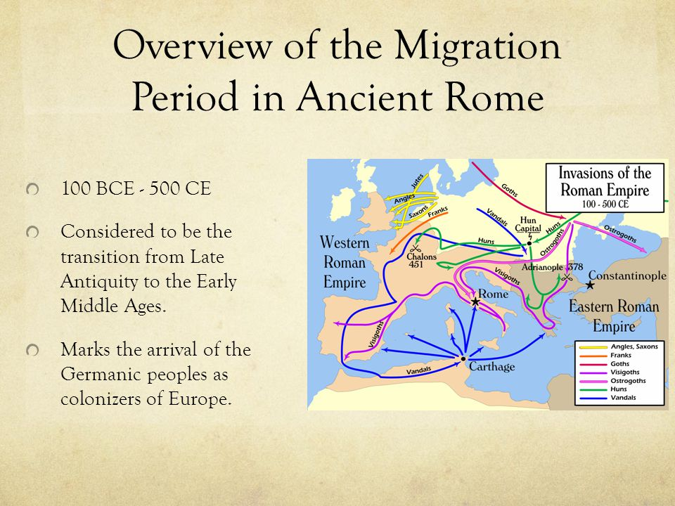 Overview of the Migration Period in Ancient Rome 100 BCE - 500 CE Considered to be the transition from Late Antiquity to the Early Middle Ages. Marks