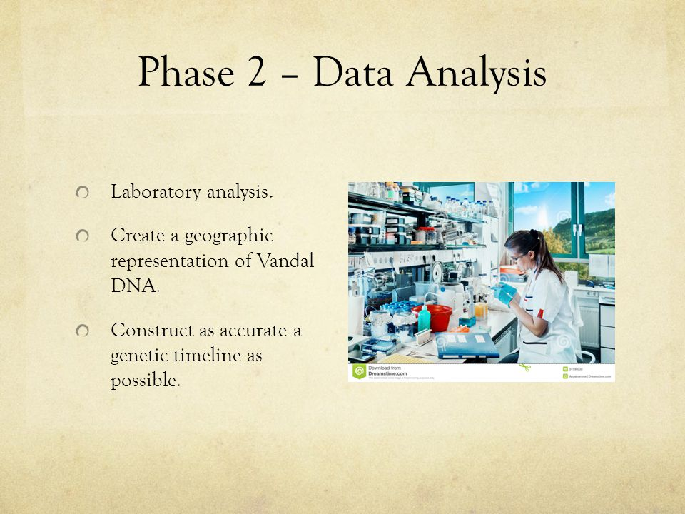Phase 2 – Data Analysis Laboratory analysis.Create a geographic representation of Vandal DNA.