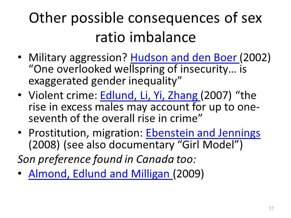 Other possible consequences of sex ratio imbalance Military aggression.