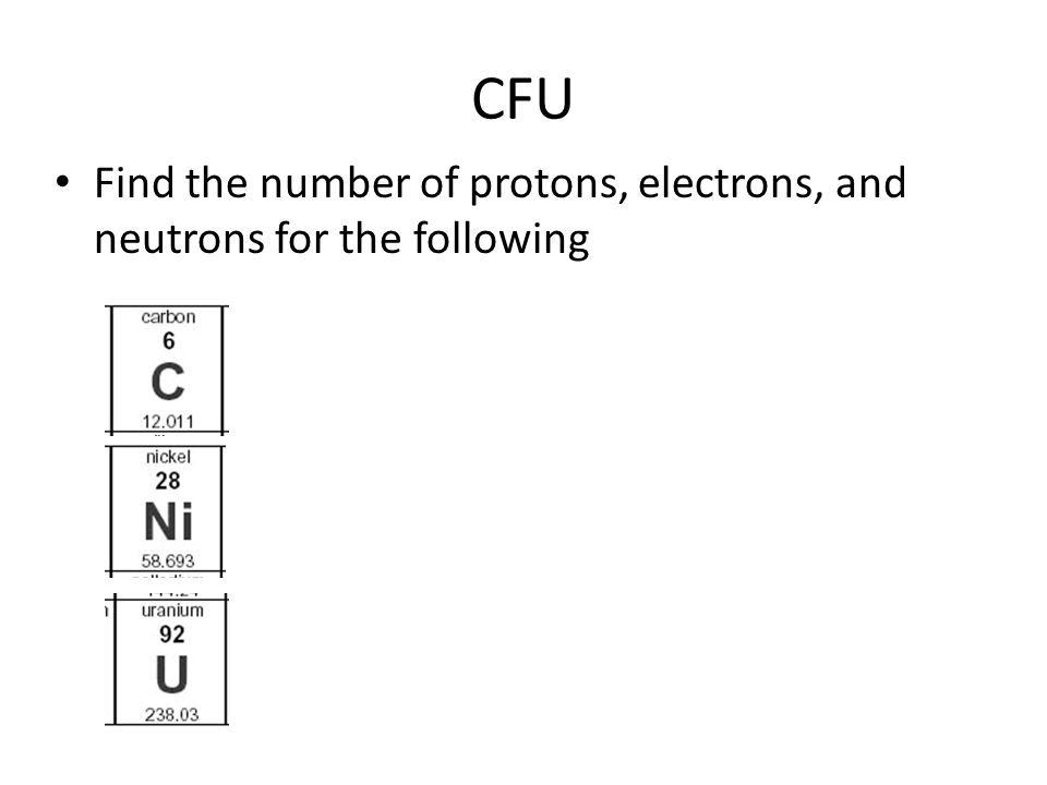 CFU Find the number of protons, electrons, and neutrons for the following