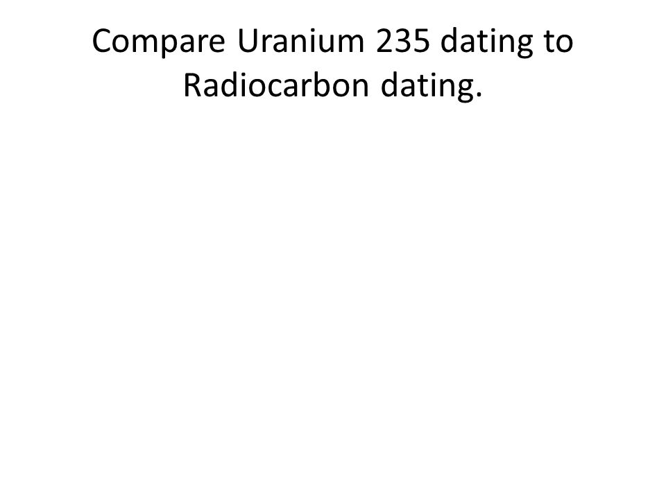 Compare Uranium 235 dating to Radiocarbon dating.