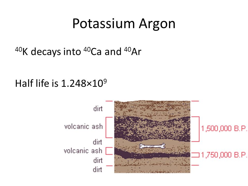 Potassium Argon 40 K decays into 40 Ca and 40 Ar Half life is 1.248×10 9