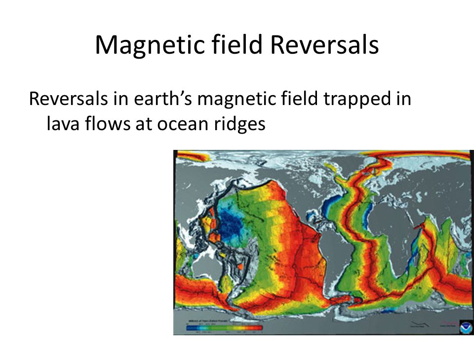 Magnetic field Reversals Reversals in earths magnetic field trapped in lava flows at ocean ridges