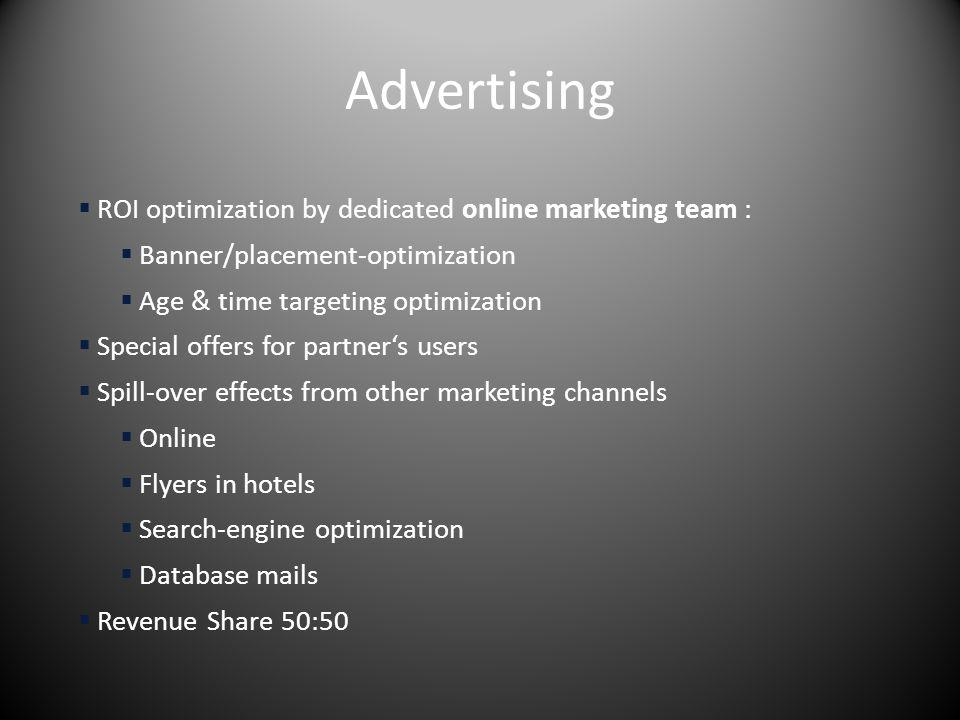 Advertising ROI optimization by dedicated online marketing team : Banner/placement-optimization Age & time targeting optimization Special offers for p