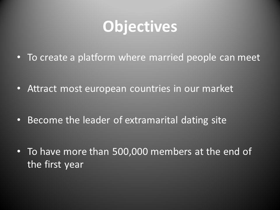 Objectives To create a platform where married people can meet Attract most european countries in our market Become the leader of extramarital dating s
