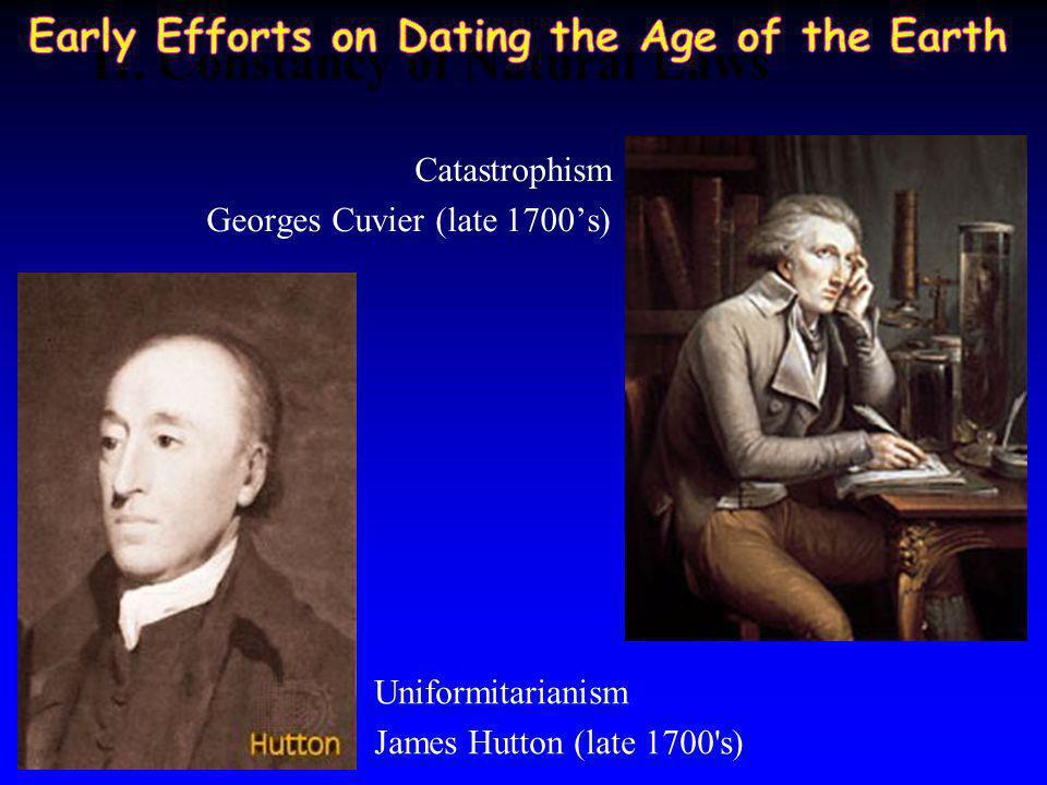 James Ussher (mid 1600's) Georges Buffon (mid 1700s) Lord Kelvin (late 1800's) 75,000 yr 100 m.y. Charles Walcott (1893) 75 m.y. 4004 B.C.