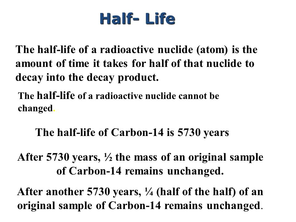 The half-life of a radioactive nuclide (atom) is the amount of time it takes for half of that nuclide to decay into the decay product.