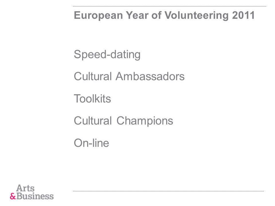 European Year of Volunteering 2011 Speed-dating Cultural Ambassadors Toolkits Cultural Champions On-line