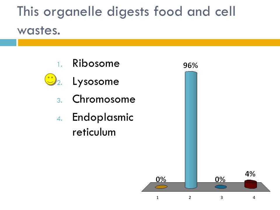This organelle digests food and cell wastes.1. Ribosome 2.