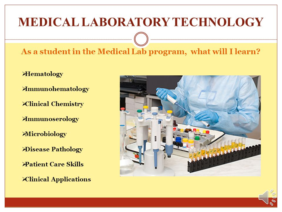 MEDICAL LABORATORY TECHNOLOGY A few facts about the Medical Lab Technology program: A class of ten to twelve (10-12) students is selected via a rankin