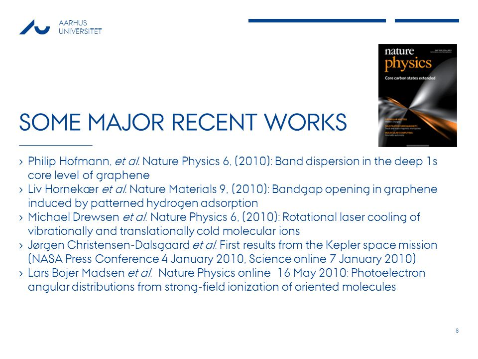 AARHUS UNIVERSITET SOME MAJOR RECENT WORKS Philip Hofmann, et al.