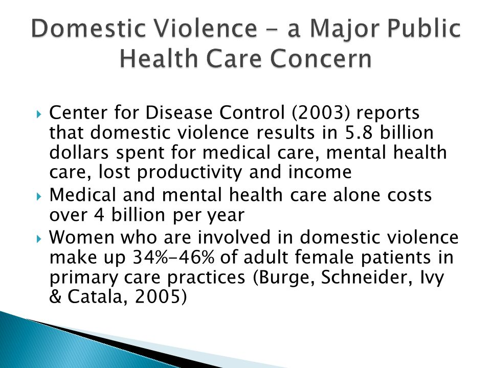 Center for Disease Control (2003) reports that domestic violence results in 5.8 billion dollars spent for medical care, mental health care, lost productivity and income Medical and mental health care alone costs over 4 billion per year Women who are involved in domestic violence make up 34%-46% of adult female patients in primary care practices (Burge, Schneider, Ivy & Catala, 2005)