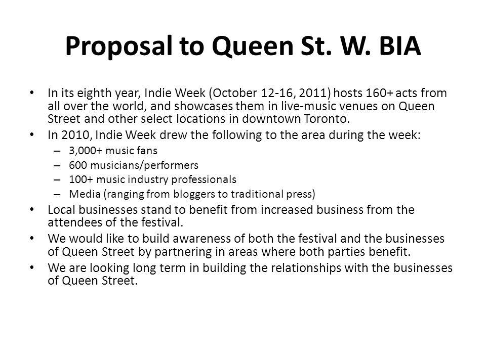 Proposal to Queen St. W.