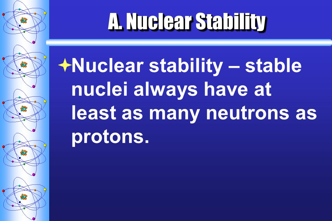 A. Nuclear Stability Nuclear stability – stable nuclei always have at least as many neutrons as protons.