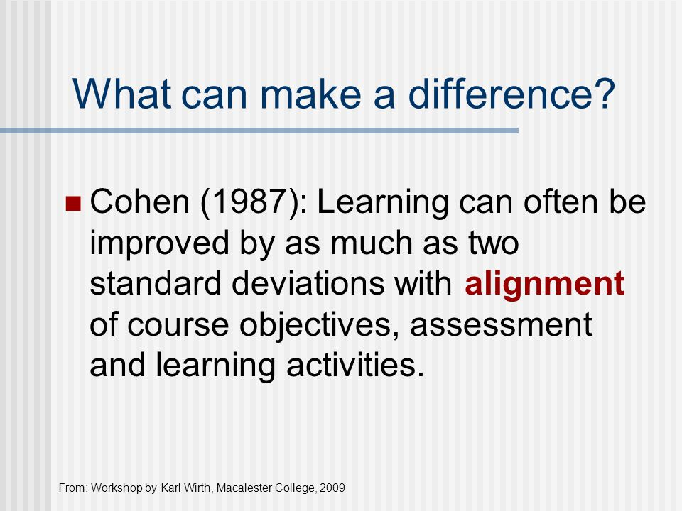 What can make a difference? Cohen (1987): Learning can often be improved by as much as two standard deviations with alignment of course objectives, as