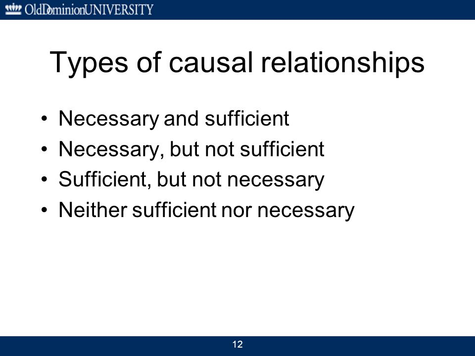 12 Types of causal relationships Necessary and sufficient Necessary, but not sufficient Sufficient, but not necessary Neither sufficient nor necessary
